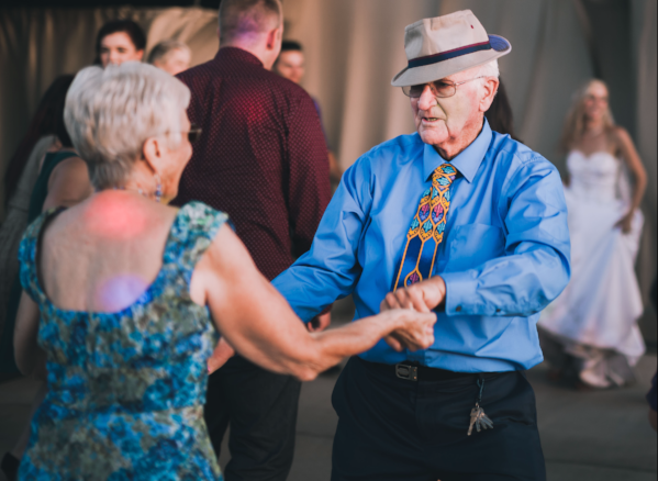 Image of an senior man and woman dancing